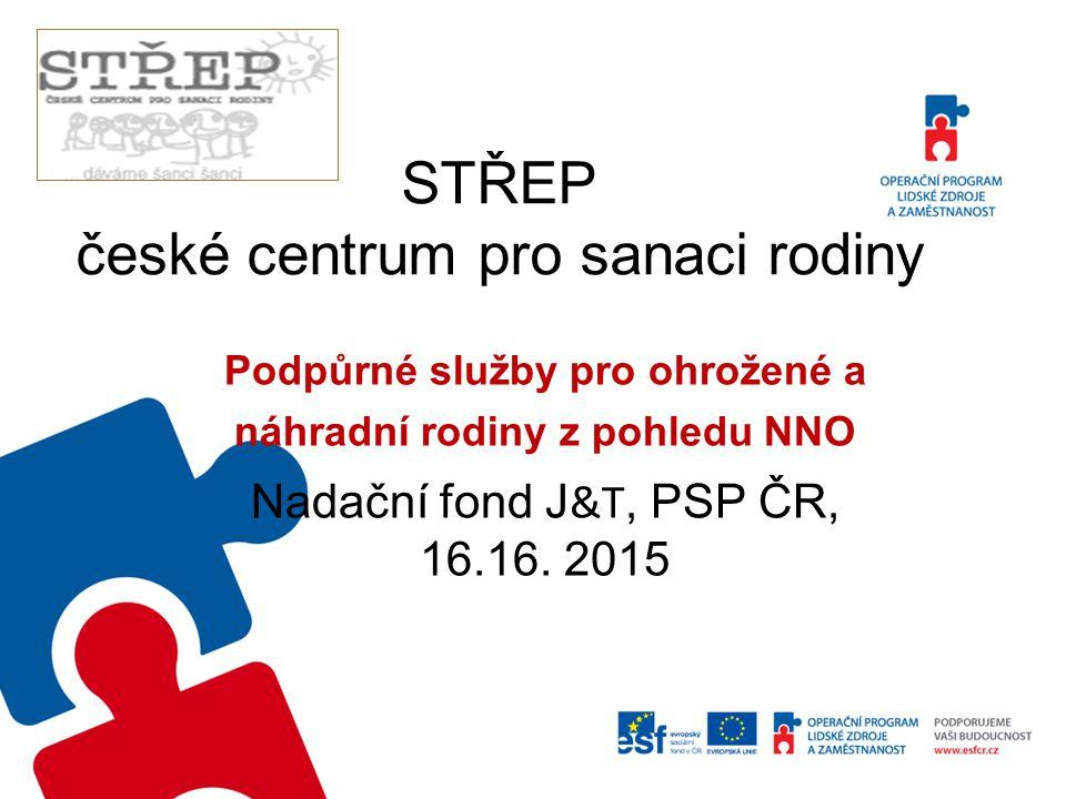 STŘEP české centrum pro sanaci rodiny Podpůrné služby pro ohrožené a náhradní rodiny z pohledu NNO Nadační fond J &T, PSP ČR, 16.16. 2015