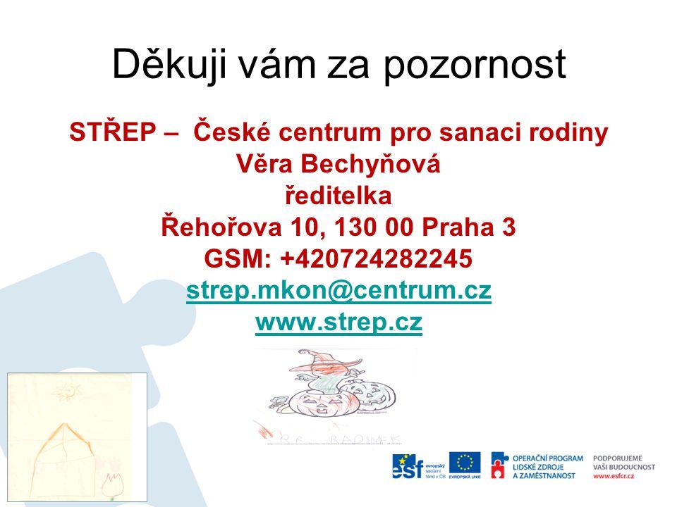 Děkuji vám za pozornost STŘEP – České centrum pro sanaci rodiny Věra Bechyňová ředitelka Řehořova 10, 130 00 Praha 3 GSM: +420724282245 strep.mkon@cen