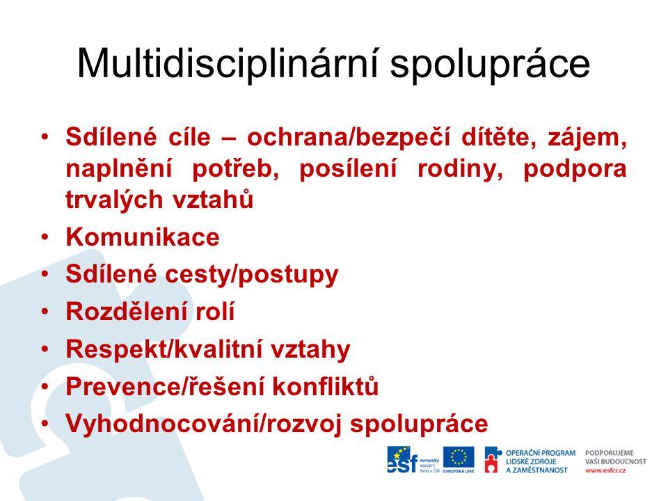 Multidisciplinární spolupráce Sdílené cíle – ochrana/bezpečí dítěte, zájem, naplnění potřeb, posílení rodiny, podpora trvalých vztahů Komunikace Sdíle