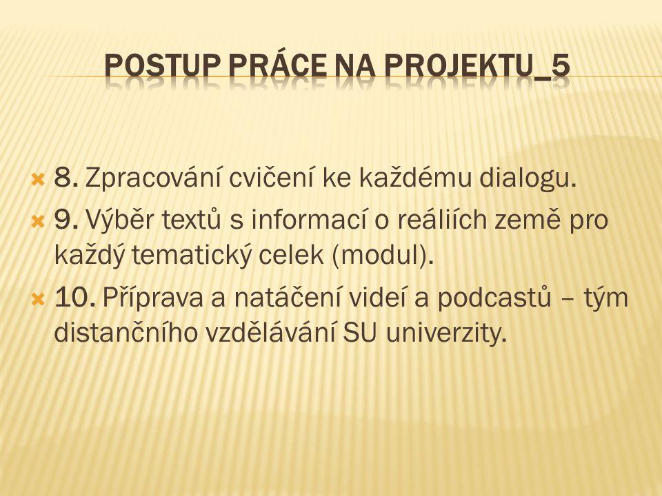 8. Zpracování cvičení ke každému dialogu.  9.