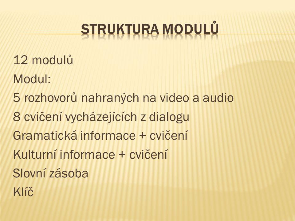 12 modulů Modul: 5 rozhovorů nahraných na video a audio 8 cvičení vycházejících z dialogu Gramatická informace + cvičení Kulturní informace + cvičení Slovní zásoba Klíč