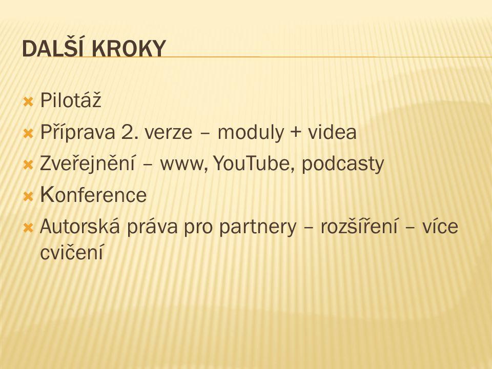 DALŠÍ KROKY  Pilotáž  Příprava 2.