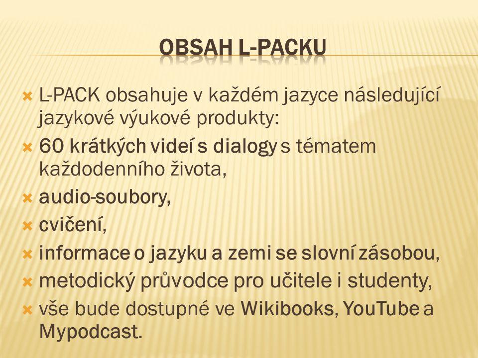  L-PACK obsahuje v každém jazyce následující jazykové výukové produkty:  60 krátkých videí s dialogy s tématem každodenního života,  audio-soubory,  cvičení,  informace o jazyku a zemi se slovní zásobou,  metodický průvodce pro učitele i studenty,  vše bude dostupné ve Wikibooks, YouTube a Mypodcast.