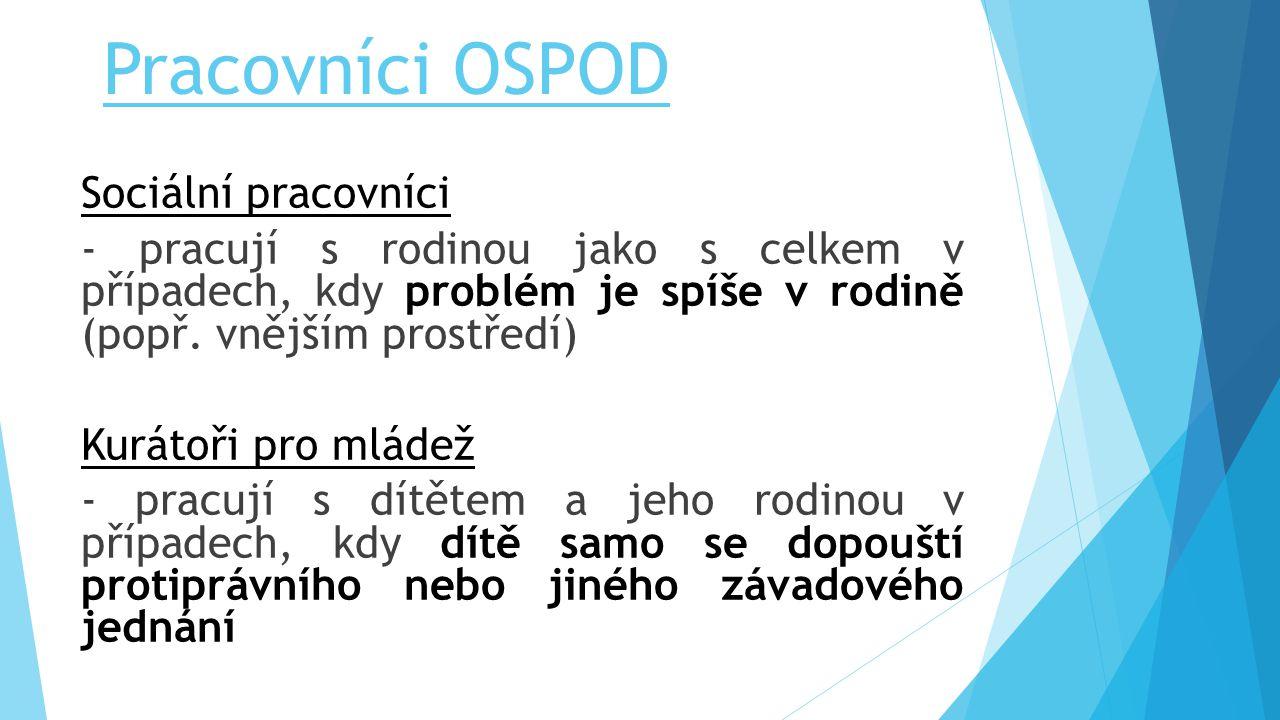 Pracovníci OSPOD Sociální pracovníci - pracují s rodinou jako s celkem v případech, kdy problém je spíše v rodině (popř. vnějším prostředí) Kurátoři p