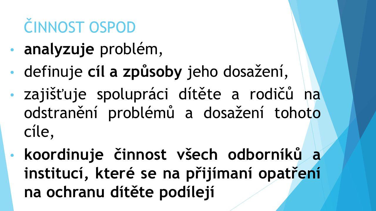 ČINNOST OSPOD analyzuje problém, definuje cíl a způsoby jeho dosažení, zajišťuje spolupráci dítěte a rodičů na odstranění problémů a dosažení tohoto c