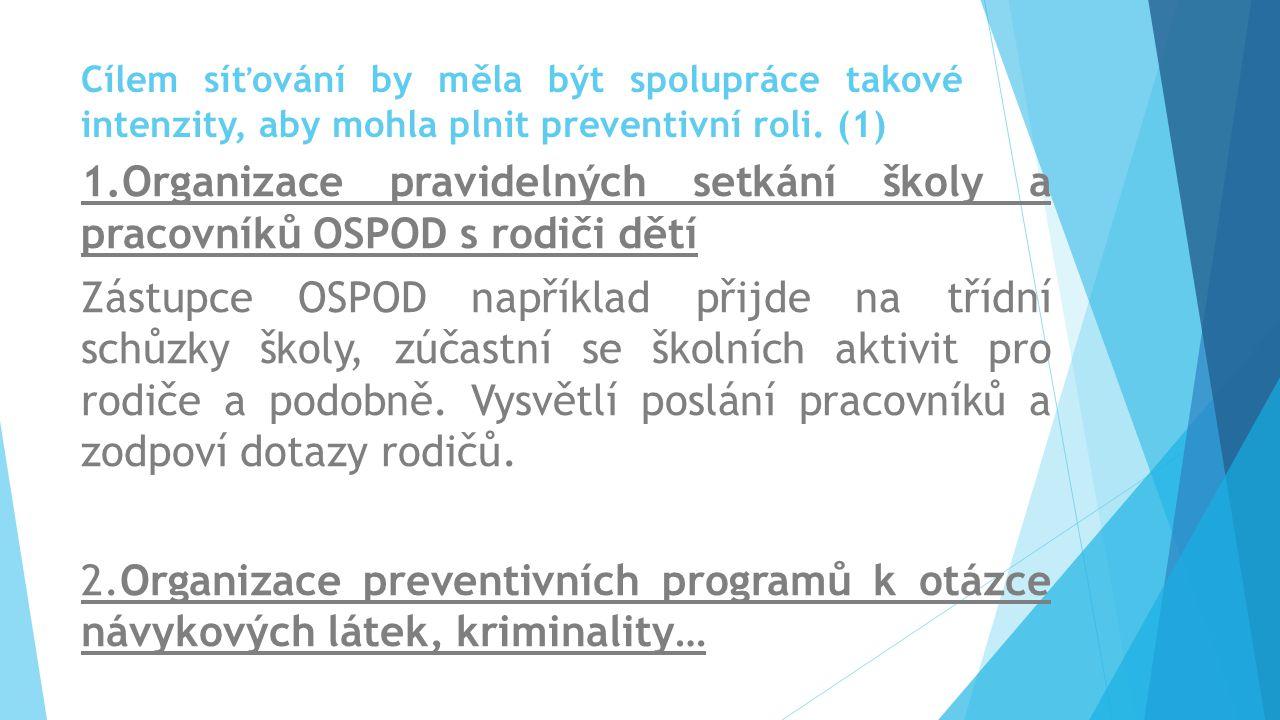Cílem síťování by měla být spolupráce takové intenzity, aby mohla plnit preventivní roli. (1) 1.Organizace pravidelných setkání školy a pracovníků OSP