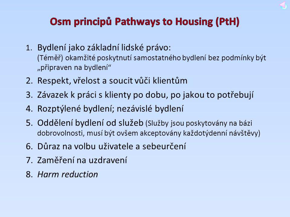 """1. Bydlení jako základní lidské právo: (Téměř) okamžité poskytnutí samostatného bydlení bez podmínky být """"připraven na bydlení"""" 2.Respekt, vřelost a s"""