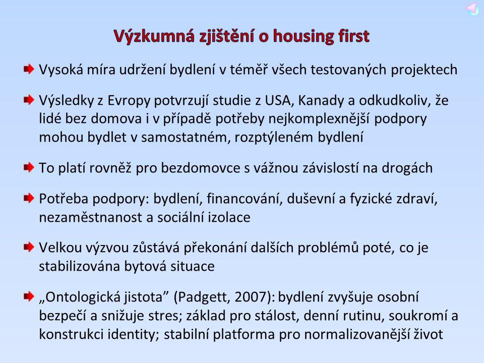 Vysoká míra udržení bydlení v téměř všech testovaných projektech Výsledky z Evropy potvrzují studie z USA, Kanady a odkudkoliv, že lidé bez domova i v