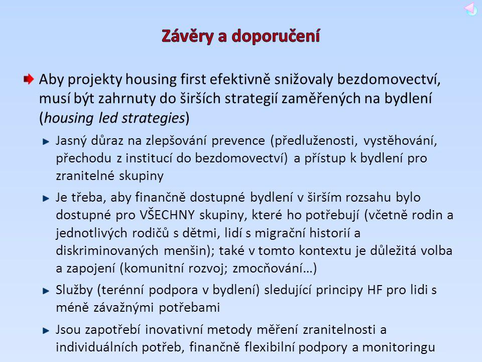 Aby projekty housing first efektivně snižovaly bezdomovectví, musí být zahrnuty do širších strategií zaměřených na bydlení (housing led strategies) Ja