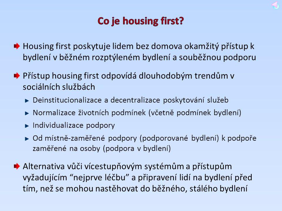 Housing first poskytuje lidem bez domova okamžitý přístup k bydlení v běžném rozptýleném bydlení a souběžnou podporu Přístup housing first odpovídá dl