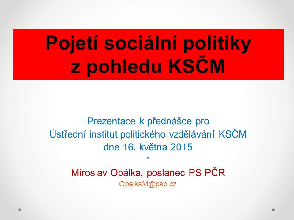 Prezentace k přednášce pro Ústřední institut politického vzdělávání KSČM dne 16. května 2015 * Miroslav Opálka, poslanec PS PČR OpalkaM@psp.cz Pojetí