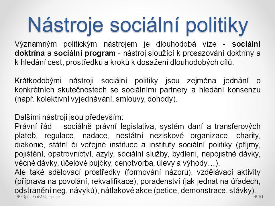 10OpalkaM@psp.cz 10OpalkaM@psp.cz10 Nástroje sociální politiky 10 Významným politickým nástrojem je dlouhodobá vize - sociální doktrína a sociální pro