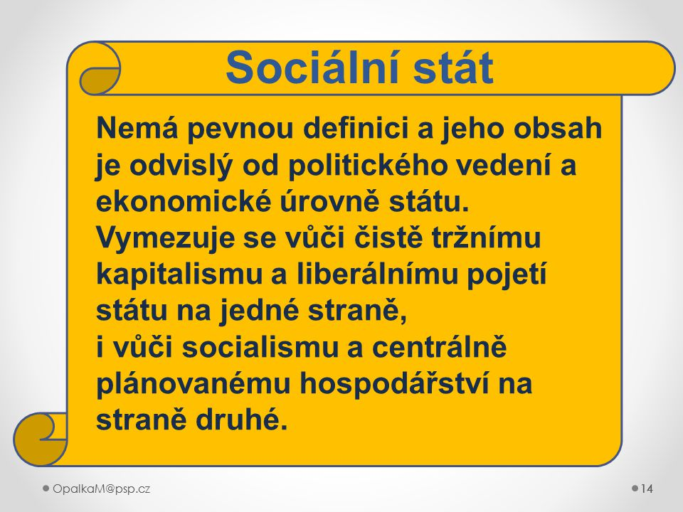 14OpalkaM@psp.cz 14OpalkaM@psp.cz14 Nemá pevnou definici a jeho obsah je odvislý od politického vedení a ekonomické úrovně státu. Vymezuje se vůči čis