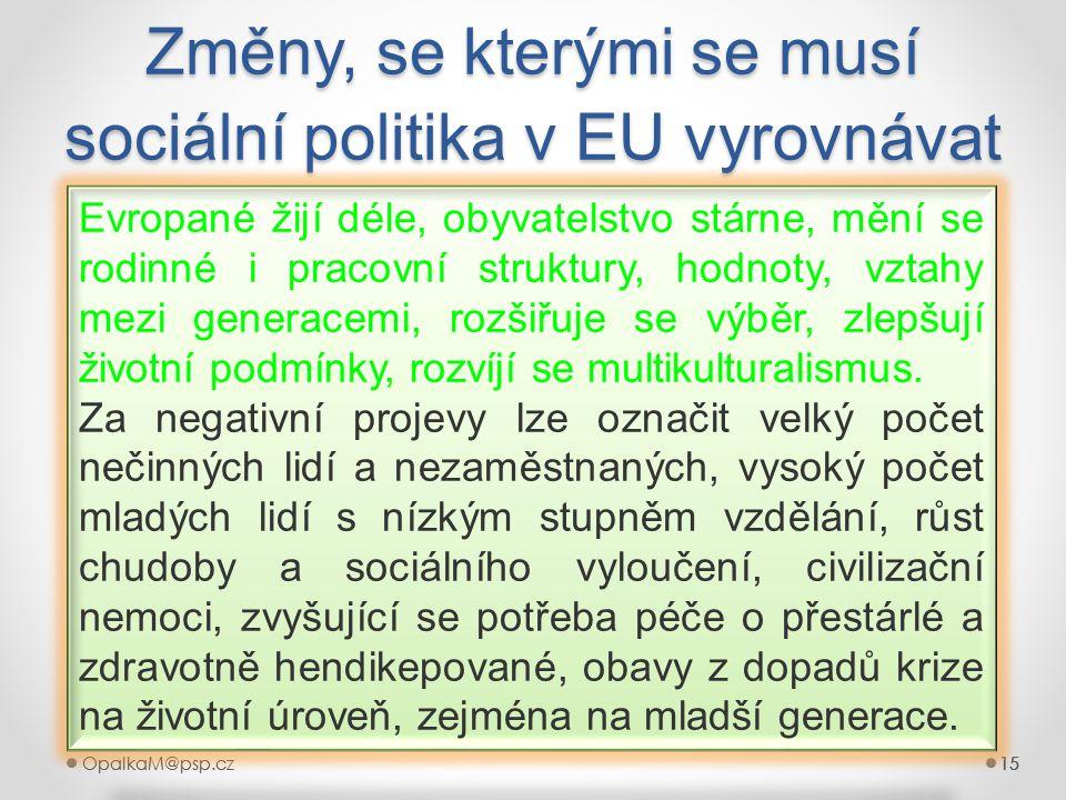 15OpalkaM@psp.cz 15OpalkaM@psp.cz15 Změny, se kterými se musí sociální politika v EU vyrovnávat 15 Evropané žijí déle, obyvatelstvo stárne, mění se ro