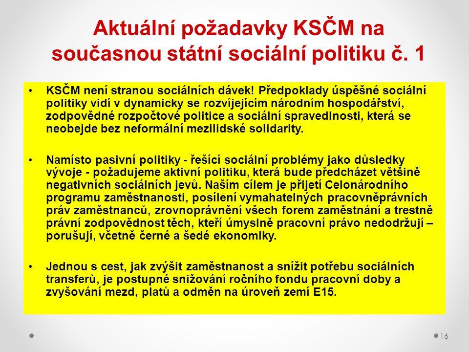 16 Aktuální požadavky KSČM na současnou státní sociální politiku č. 1 KSČM není stranou sociálních dávek! Předpoklady úspěšné sociální politiky vidí v