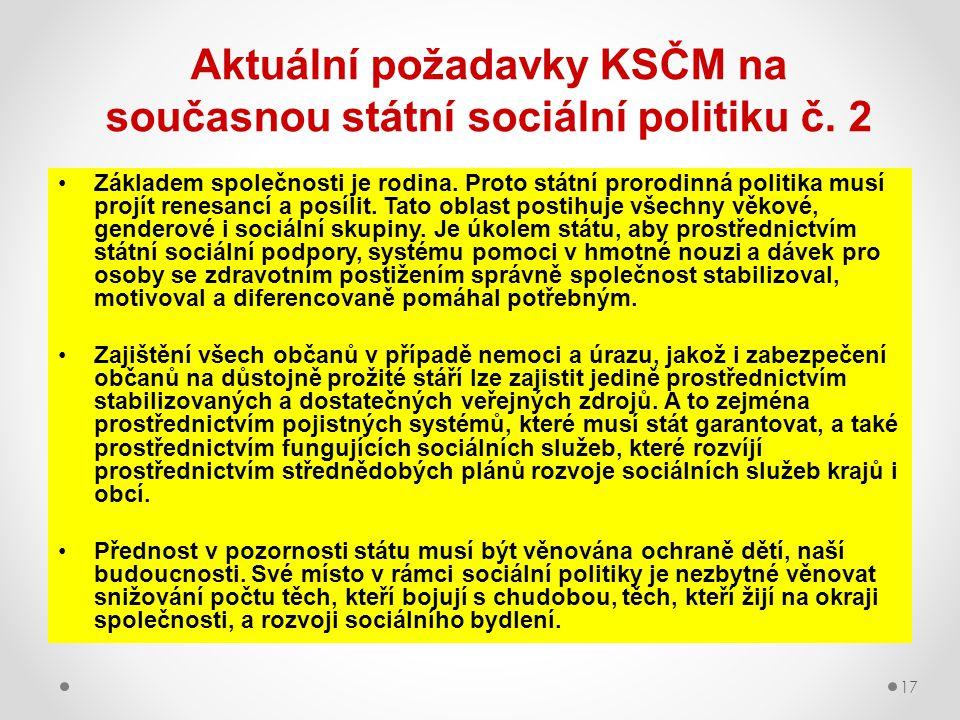 17 Aktuální požadavky KSČM na současnou státní sociální politiku č. 2 Základem společnosti je rodina. Proto státní prorodinná politika musí projít ren