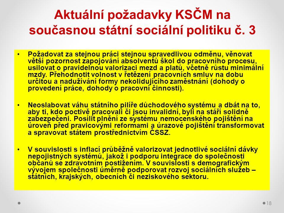 18 Aktuální požadavky KSČM na současnou státní sociální politiku č. 3 Požadovat za stejnou práci stejnou spravedlivou odměnu, věnovat větší pozornost