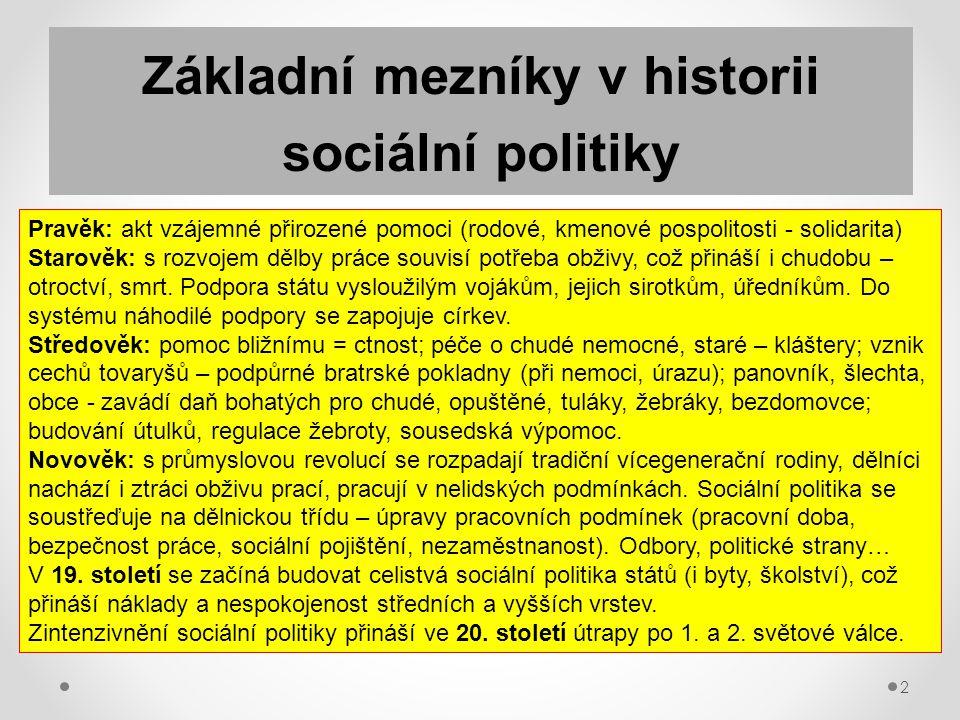 2 Základní mezníky v historii sociální politiky Pravěk: akt vzájemné přirozené pomoci (rodové, kmenové pospolitosti - solidarita) Starověk: s rozvojem