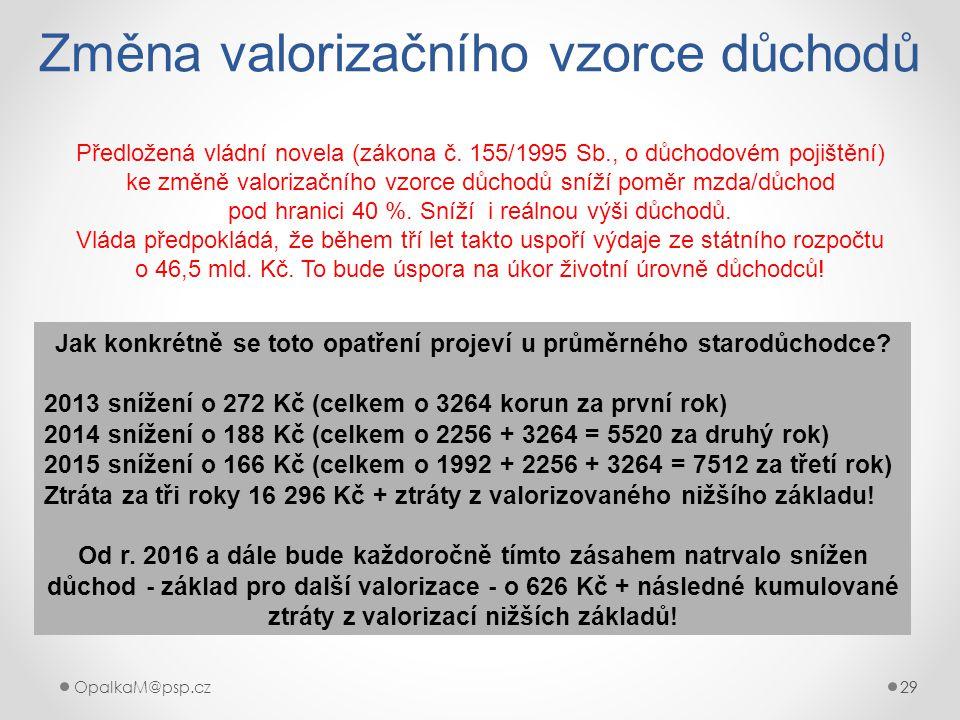 29OpalkaM@psp.cz 29 Změna valorizačního vzorce důchodů Předložená vládní novela (zákona č. 155/1995 Sb., o důchodovém pojištění) ke změně valorizačníh