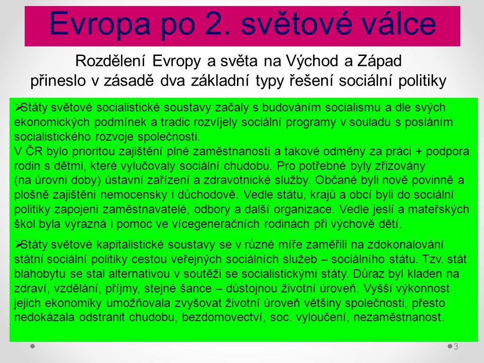 3 Evropa po 2. světové válce Rozdělení Evropy a světa na Východ a Západ přineslo v zásadě dva základní typy řešení sociální politiky  Státy světové s
