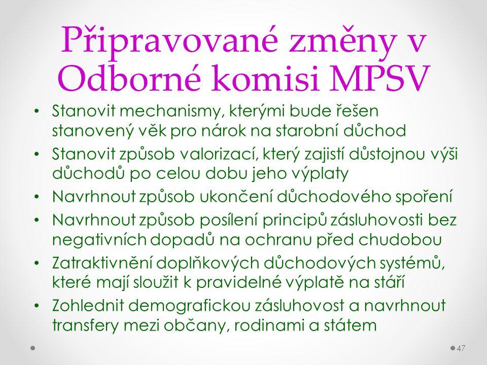 47 Připravované změny v Odborné komisi MPSV Stanovit mechanismy, kterými bude řešen stanovený věk pro nárok na starobní důchod Stanovit způsob valoriz