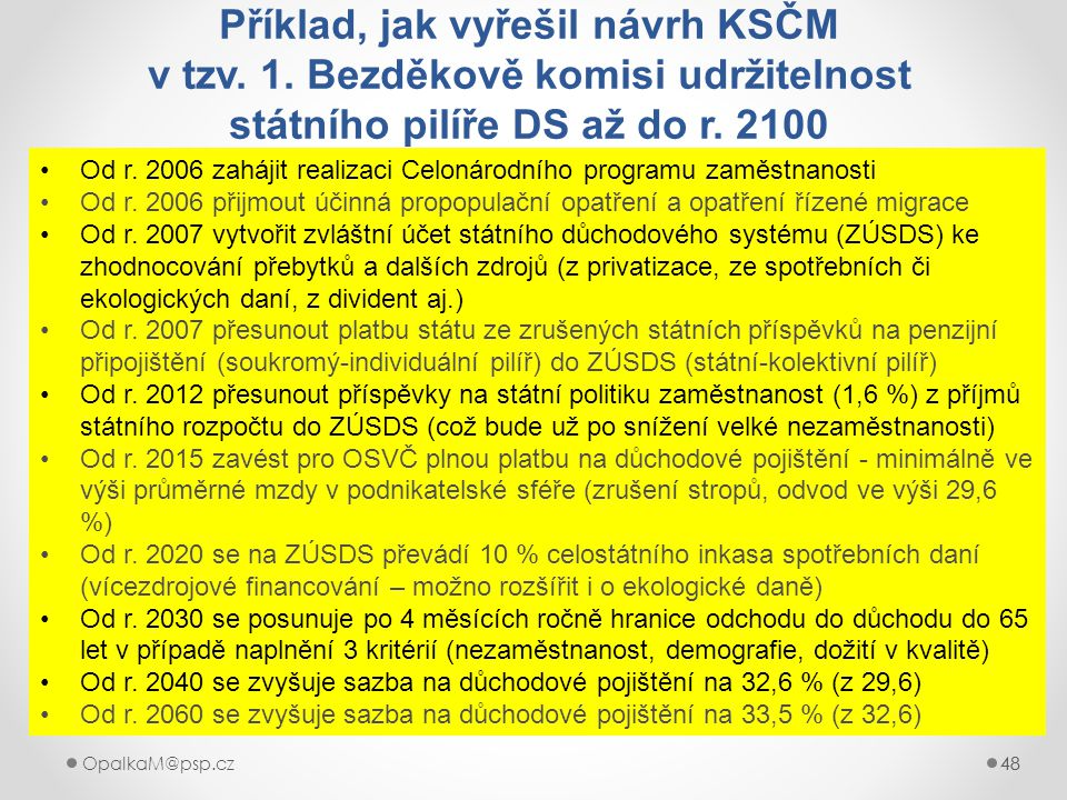 48OpalkaM@psp.cz 48 Příklad, jak vyřešil návrh KSČM v tzv. 1. Bezděkově komisi udržitelnost státního pilíře DS až do r. 2100 Od r. 2006 zahájit realiz