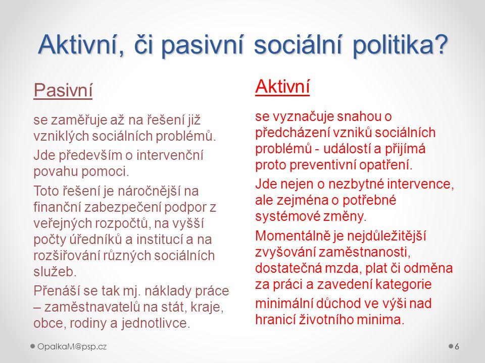 6OpalkaM@psp.cz 6 666 Aktivní, či pasivní sociální politika? Pasivní Aktivní se zaměřuje až na řešení již vzniklých sociálních problémů. Jde především