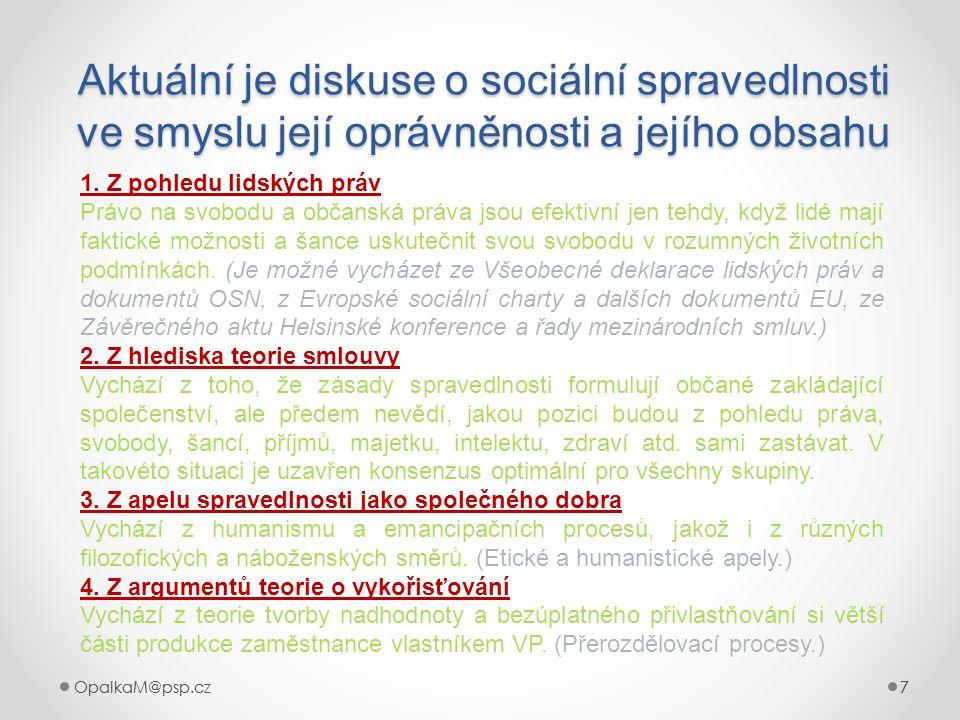 7OpalkaM@psp.cz 7 777 Aktuální je diskuse o sociální spravedlnosti ve smyslu její oprávněnosti a jejího obsahu 7 1. Z pohledu lidských práv Právo na s