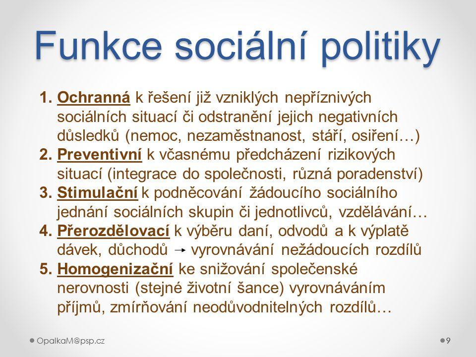 9OpalkaM@psp.cz 9 999 Funkce sociální politiky 9 1.Ochranná k řešení již vzniklých nepříznivých sociálních situací či odstranění jejich negativních dů