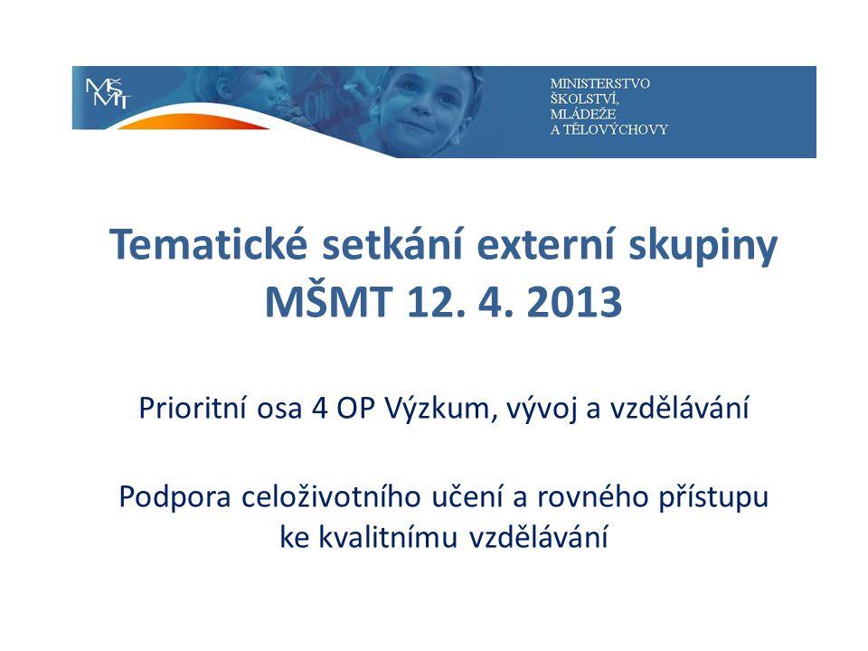Tematické setkání externí skupiny MŠMT 12. 4.