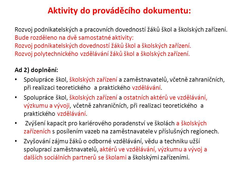 Aktivity do prováděcího dokumentu: Rozvoj podnikatelských a pracovních dovedností žáků škol a školských zařízení.