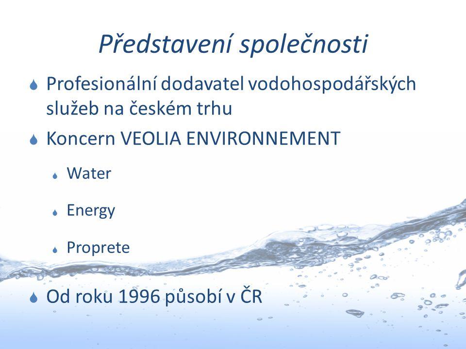 Představení společnosti  Profesionální dodavatel vodohospodářských služeb na českém trhu  Koncern VEOLIA ENVIRONNEMENT  Water  Energy  Proprete 
