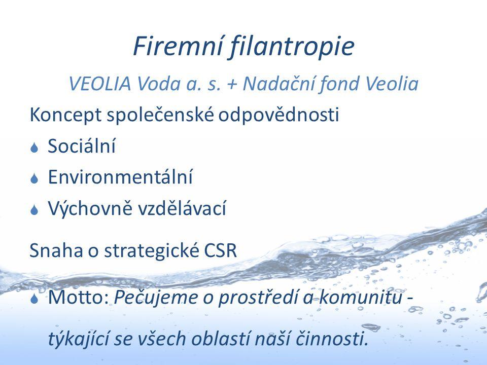 Firemní filantropie VEOLIA Voda a. s. + Nadační fond Veolia Koncept společenské odpovědnosti  Sociální  Environmentální  Výchovně vzdělávací Snaha