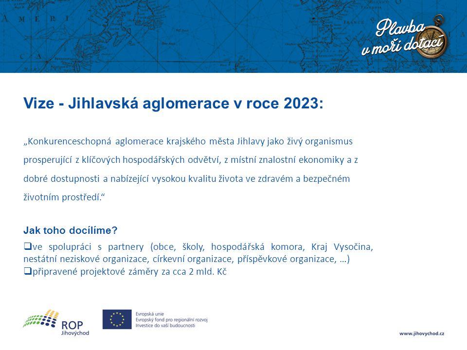 """Vize - Jihlavská aglomerace v roce 2023: """"Konkurenceschopná aglomerace krajského města Jihlavy jako živý organismus prosperující z klíčových hospodářských odvětví, z místní znalostní ekonomiky a z dobré dostupnosti a nabízející vysokou kvalitu života ve zdravém a bezpečném životním prostředí. Jak toho docílíme."""