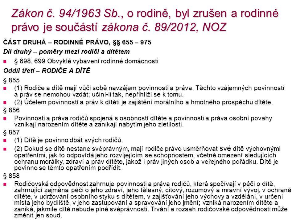 Zákon č. 94/1963 Sb., o rodině, byl zrušen a rodinné právo je součástí zákona č.