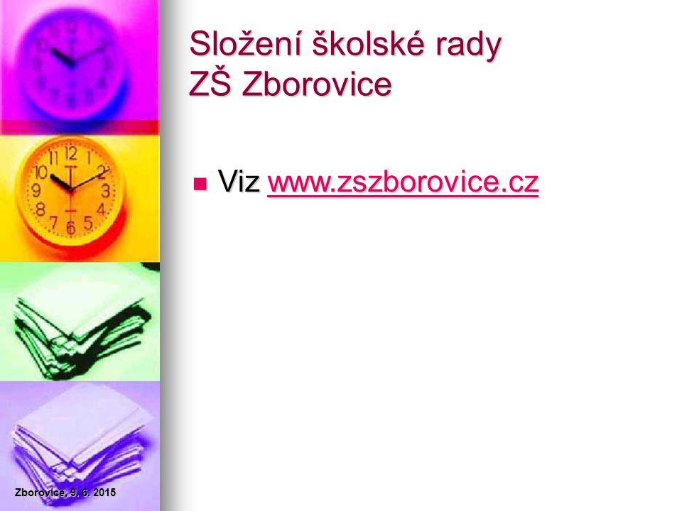 Složení školské rady ZŠ Zborovice Viz www.zszborovice.cz Viz www.zszborovice.czwww.zszborovice.cz Zborovice, 9. 6. 2015