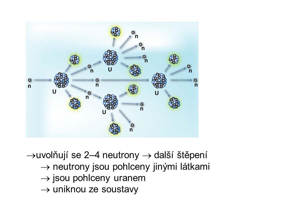  uvolňují se 2–4 neutrony  další štěpení  neutrony jsou pohlceny jinými látkami  jsou pohlceny uranem  uniknou ze soustavy