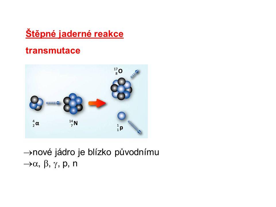 Štěpné jaderné reakce transmutace  nové jádro je blízko původnímu , , , p, n