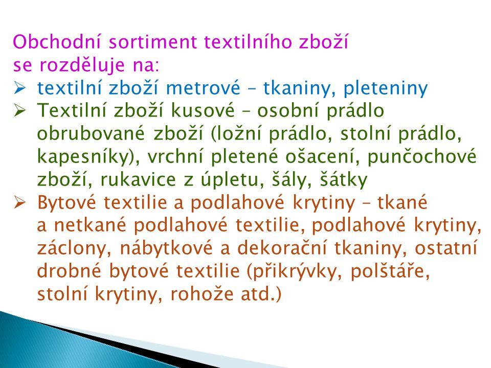  Textilní galanterie – měkká galanterie (příze, šicí nitě, stuhy, prýmky, pryžové elastické zboží, krajky, výšivky, leonské zboží a drobná příprava), tvrdá galanterie (knoflíky, zdrhovadla, přezky, háčky, spony, jehlařské zboží, krejčovské potřeby)
