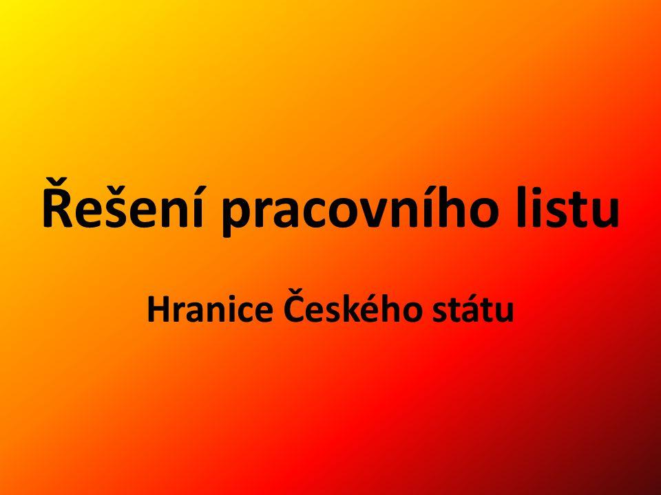 Řešení pracovního listu Hranice Českého státu
