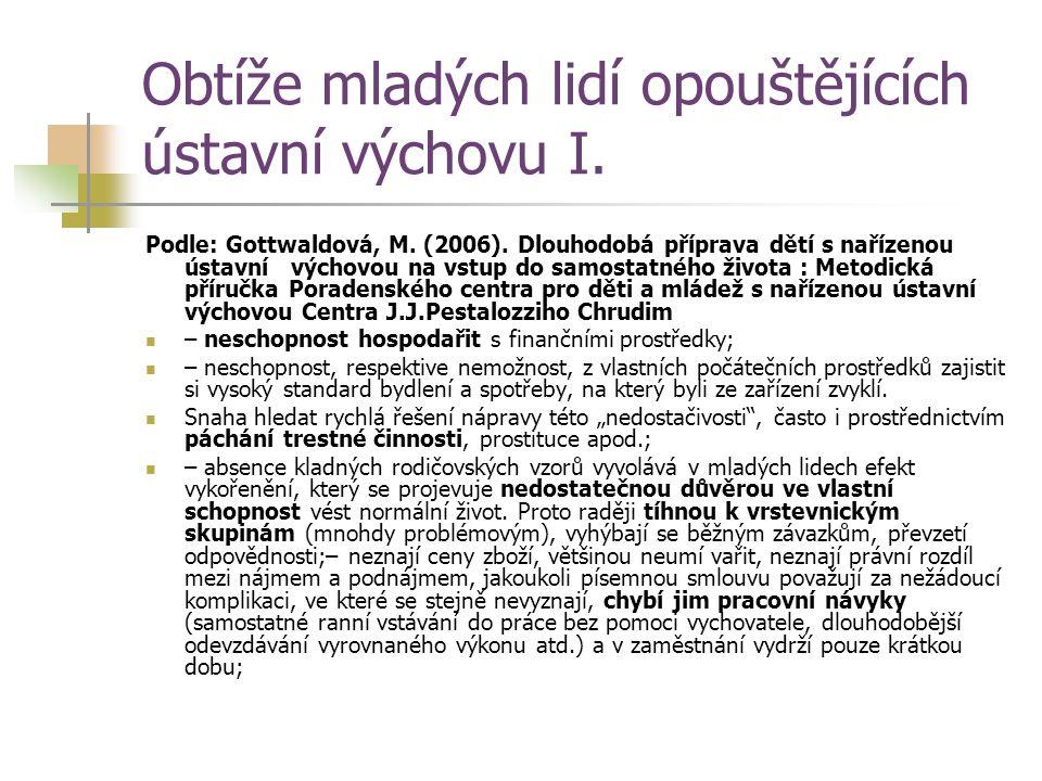Obtíže mladých lidí opouštějících ústavní výchovu I. Podle: Gottwaldová, M. (2006). Dlouhodobá příprava dětí s nařízenou ústavní výchovou na vstup do