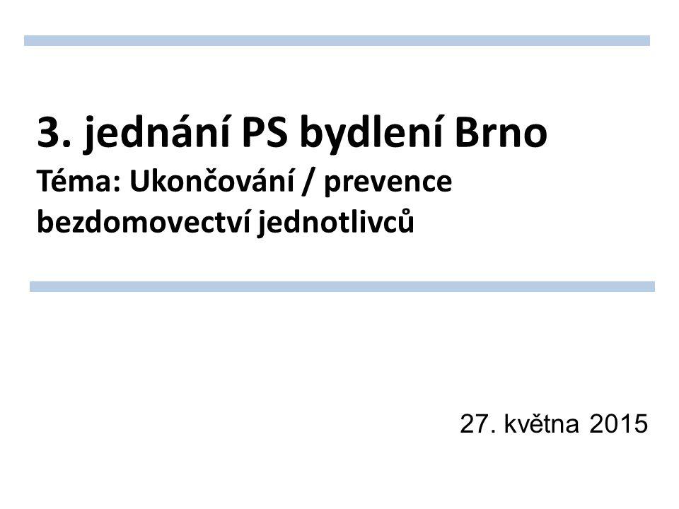 3. jednání PS bydlení Brno Téma: Ukončování / prevence bezdomovectví jednotlivců 27. května 2015