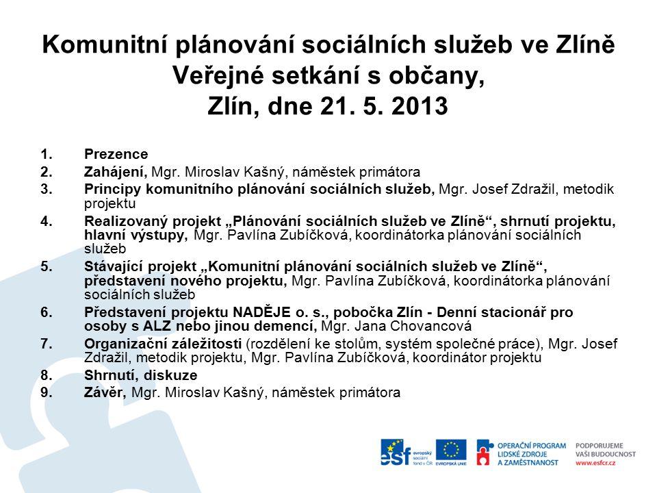Seznámení s realizovaným projektem Plánování sociálních služeb ve Zlíně Datum zahájení: 1.