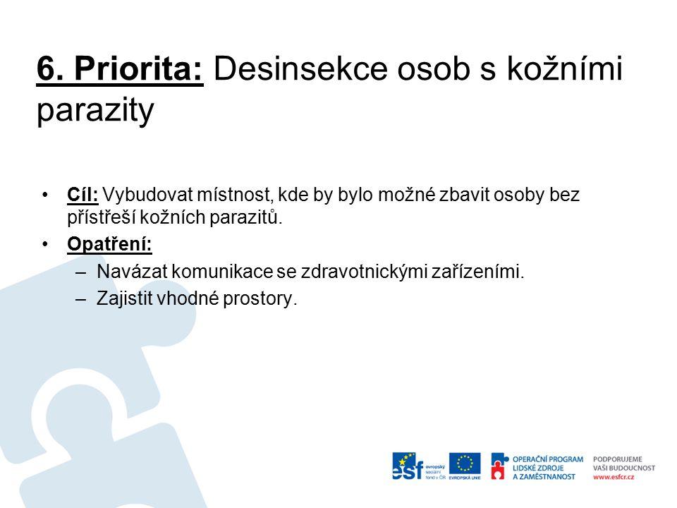 6. Priorita: Desinsekce osob s kožními parazity Cíl: Vybudovat místnost, kde by bylo možné zbavit osoby bez přístřeší kožních parazitů. Opatření: –Nav