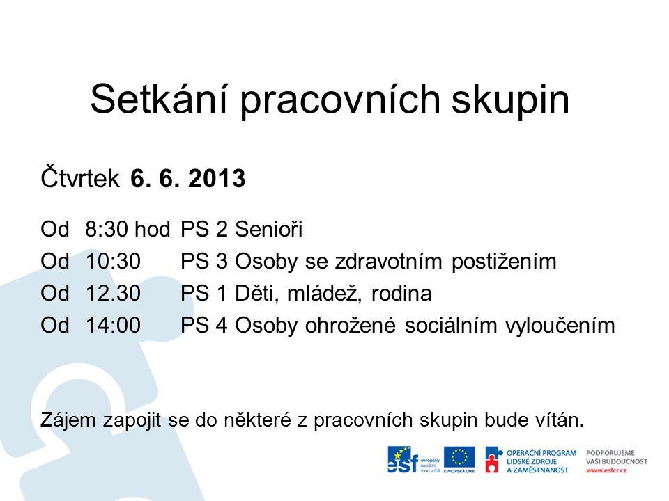 Setkání pracovních skupin Čtvrtek 6. 6.