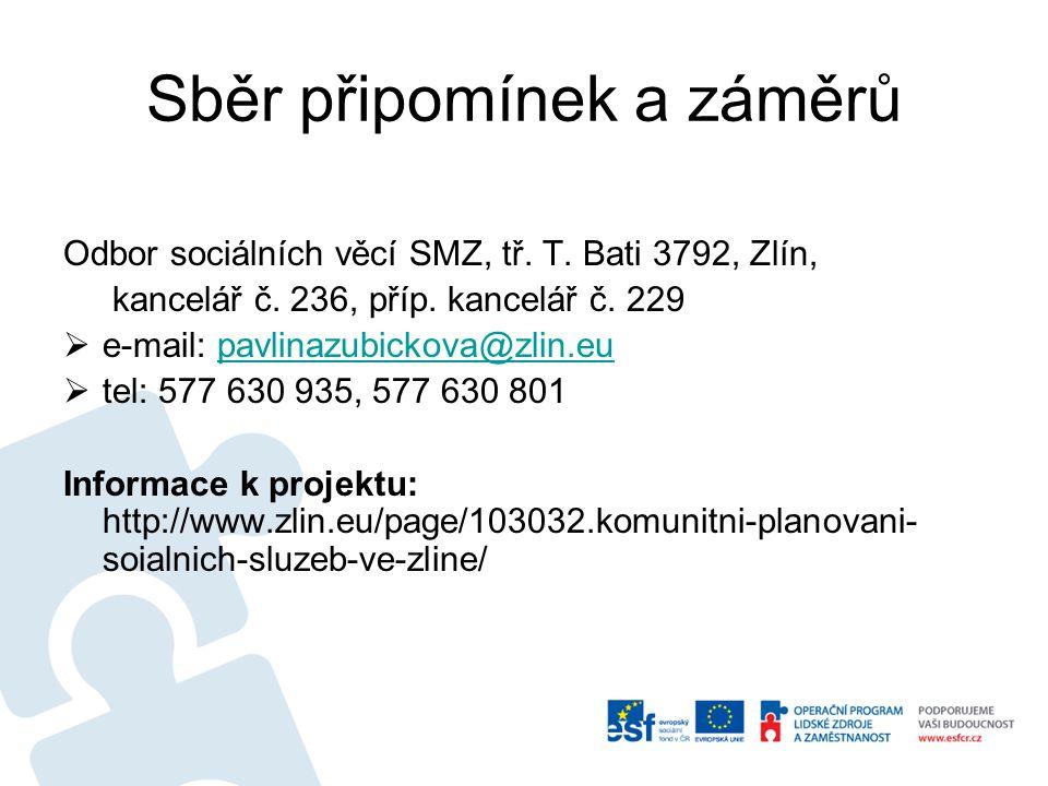 Sběr připomínek a záměrů Odbor sociálních věcí SMZ, tř.