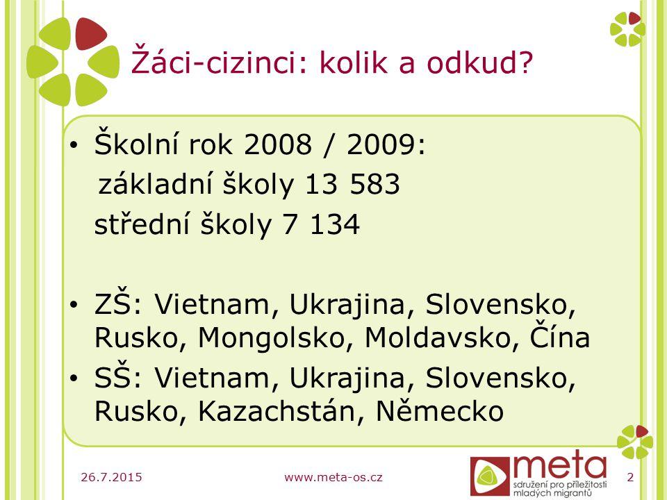 26.7.2015www.meta-os.cz2 Žáci-cizinci: kolik a odkud.