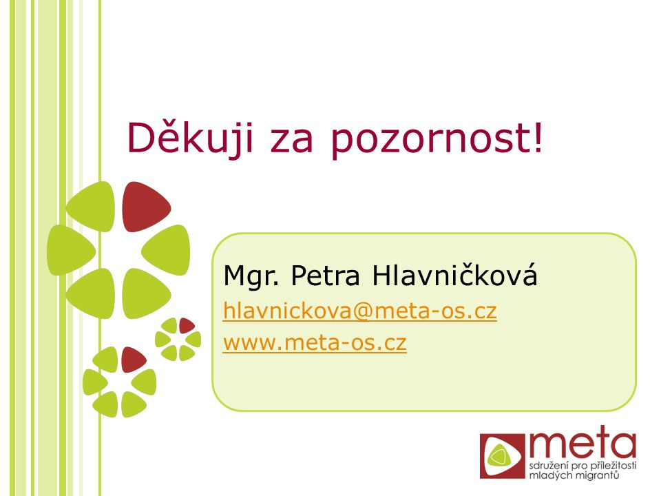 Děkuji za pozornost! Mgr. Petra Hlavničková hlavnickova@meta-os.cz www.meta-os.cz