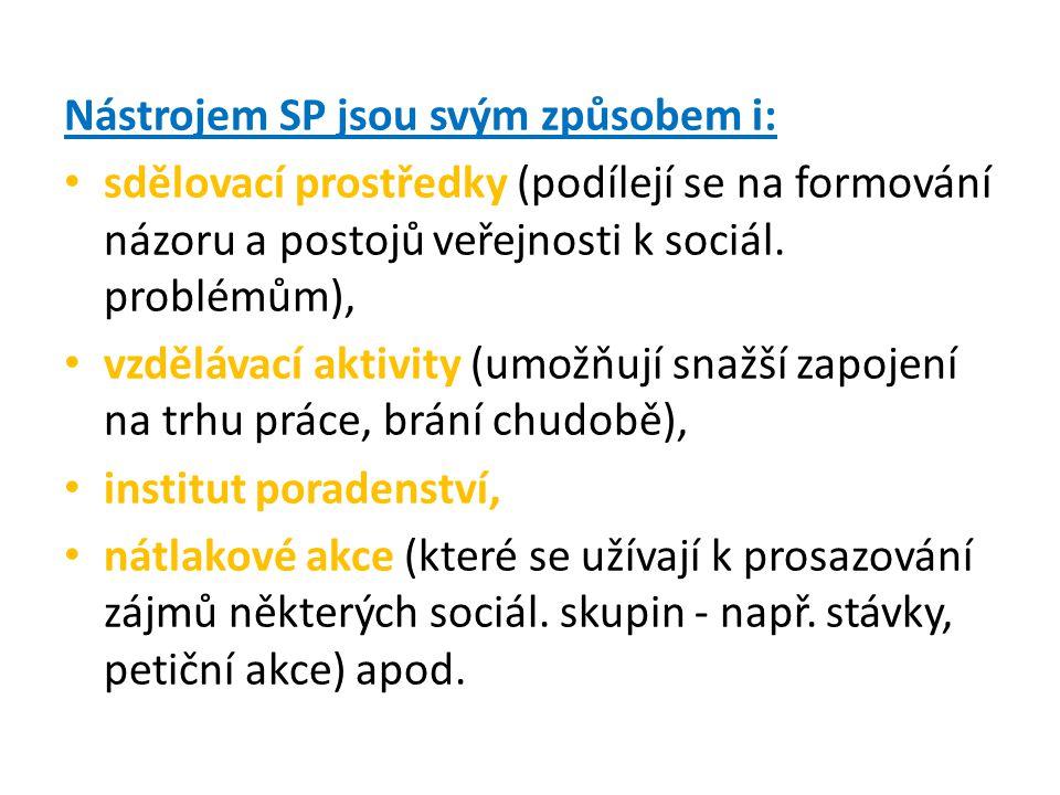 Nástrojem SP jsou svým způsobem i: sdělovací prostředky (podílejí se na formování názoru a postojů veřejnosti k sociál.