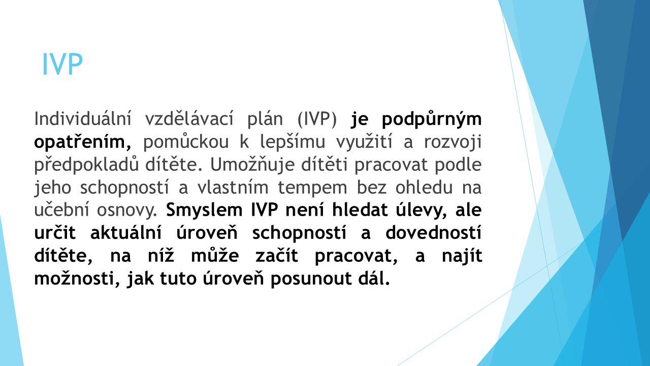 IVP Individuální vzdělávací plán (IVP) je podpůrným opatřením, pomůckou k lepšímu využití a rozvoji předpokladů dítěte. Umožňuje dítěti pracovat podle